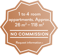 1 to 4 room appartments. Approx. 26qm - 118qm - no commission